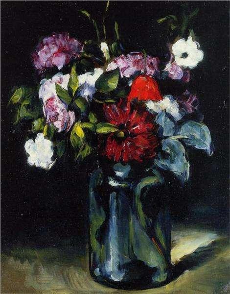 Kwiaty we flakonie - obraz Cezanne'a