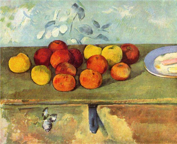 Cezanne - obraz -Jabłka i herbatniki