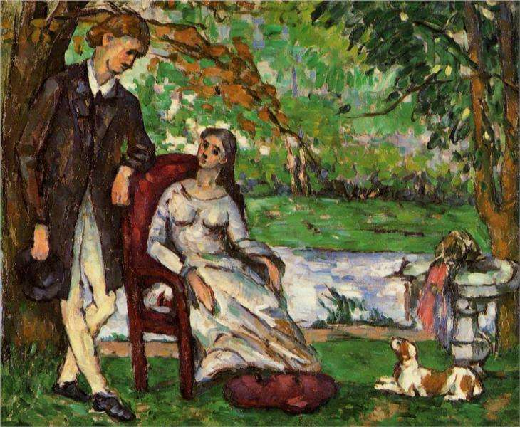 Obraz Cezanne'a - Para w ogrodzie albo Konwersacja