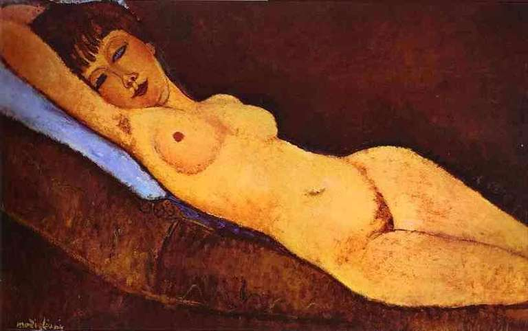Obraz Modiglianiego - Akt leżący z niebieską poduszką