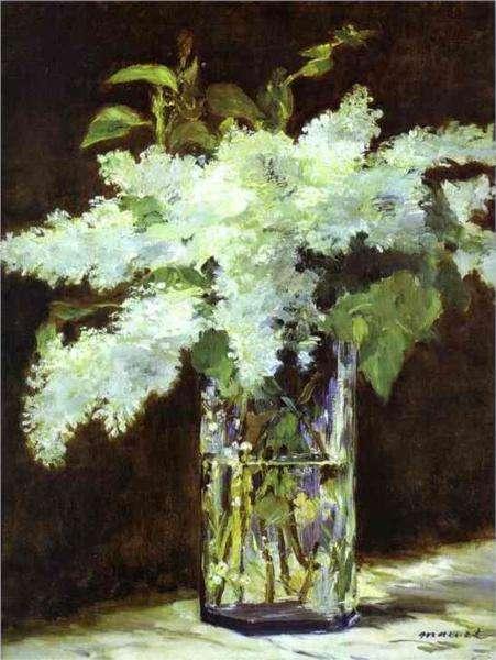 Biały bez w szklanym wazonie - Obraz - Edouard Manet