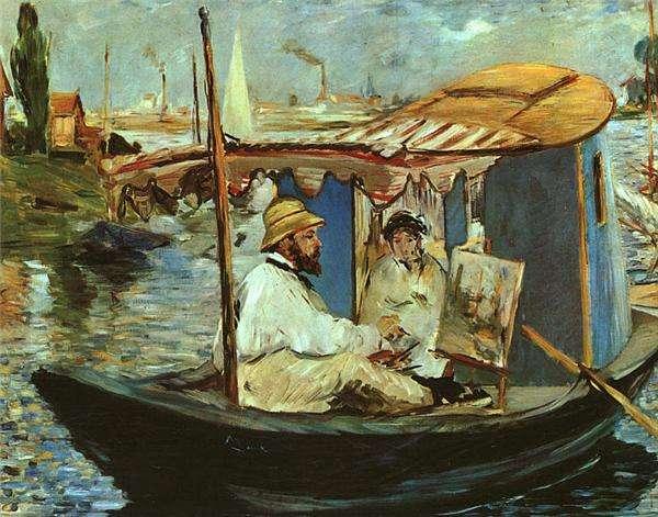 Monet w swoim pływającym studiu - obraz Maneta.