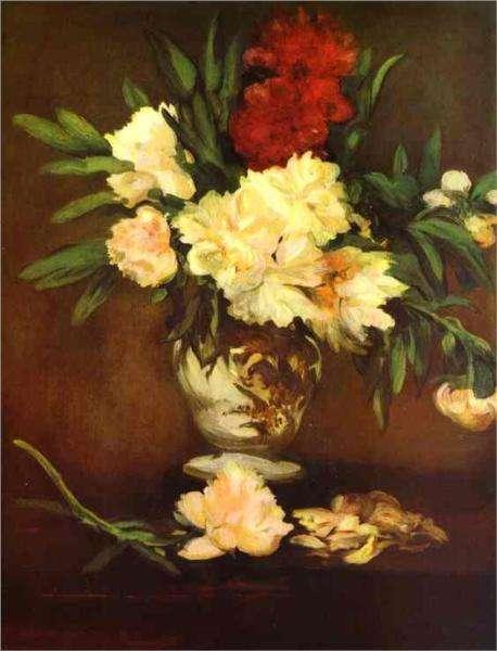 Edouard Manet -obraz - Piwonie w wazonie
