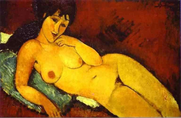 Obraz Modiglianiego - Akt na niebieskiej poduszce